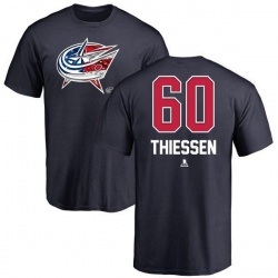 Men's Brad Thiessen Columbus Blue Jackets Name and Number Banner Wave T-Shirt - Navy