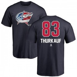 Men's Calvin Thurkauf Columbus Blue Jackets Name and Number Banner Wave T-Shirt - Navy