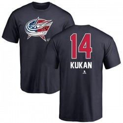Men's Dean Kukan Columbus Blue Jackets Name and Number Banner Wave T-Shirt - Navy