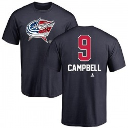 Men's Gregory Campbell Columbus Blue Jackets Name and Number Banner Wave T-Shirt - Navy