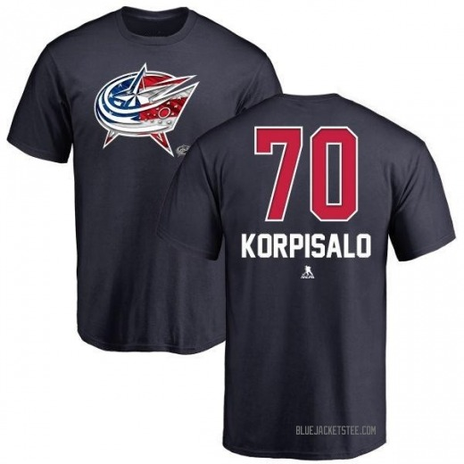 Men's Joonas Korpisalo Columbus Blue Jackets Name and Number Banner Wave T-Shirt - Navy