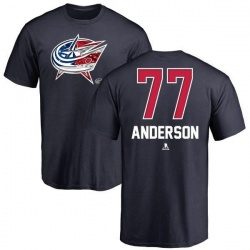 Men's Josh Anderson Columbus Blue Jackets Name and Number Banner Wave T-Shirt - Navy