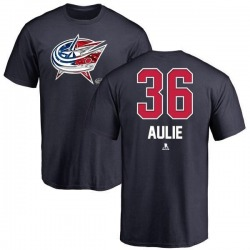 Men's Keith Aulie Columbus Blue Jackets Name and Number Banner Wave T-Shirt - Navy