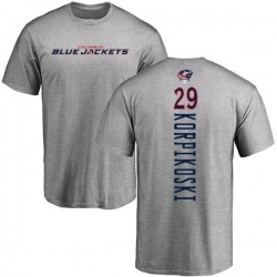 Men's Lauri Korpikoski Columbus Blue Jackets Backer T-Shirt - Ash