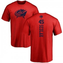 Men's Lukas Sedlak Columbus Blue Jackets One Color Backer T-Shirt - Red