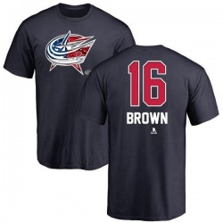 Men's Mike Brown Columbus Blue Jackets Name and Number Banner Wave T-Shirt - Navy