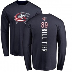 Men's Nathan Billitier Columbus Blue Jackets Backer Long Sleeve T-Shirt - Navy