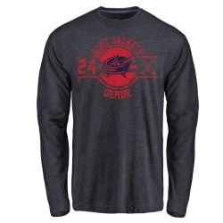 Men's Nathan Gerbe Columbus Blue Jackets Insignia Tri-Blend Long Sleeve T-Shirt - Navy