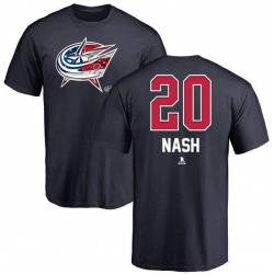 Men's Riley Nash Columbus Blue Jackets Name and Number Banner Wave T-Shirt - Navy