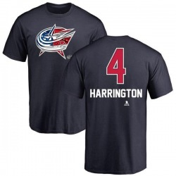 Men's Scott Harrington Columbus Blue Jackets Name and Number Banner Wave T-Shirt - Navy