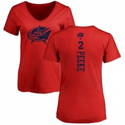 Women's Andrew Peeke Columbus Blue Jackets One Color Backer T-Shirt - Red