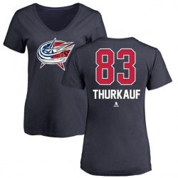 Women's Calvin Thurkauf Columbus Blue Jackets Name and Number Banner Wave V-Neck T-Shirt - Navy