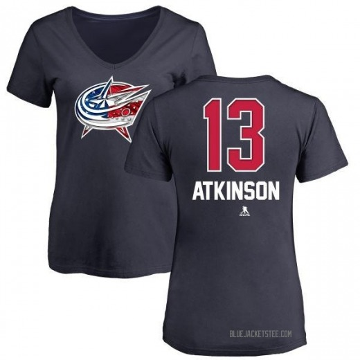 Women's Cam Atkinson Columbus Blue Jackets Name and Number Banner Wave V-Neck T-Shirt - Navy