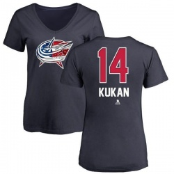 Women's Dean Kukan Columbus Blue Jackets Name and Number Banner Wave V-Neck T-Shirt - Navy