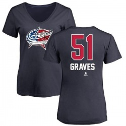 Women's Jacob Graves Columbus Blue Jackets Name and Number Banner Wave V-Neck T-Shirt - Navy
