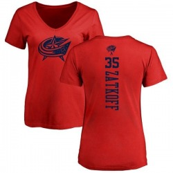 Women's Jeff Zatkoff Columbus Blue Jackets One Color Backer T-Shirt - Red