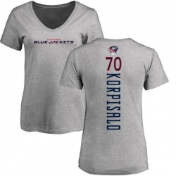 Women's Joonas Korpisalo Columbus Blue Jackets Backer T-Shirt - Ash