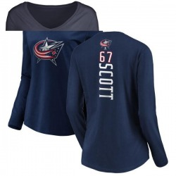 Women's Justin Scott Columbus Blue Jackets Backer Long Sleeve T-Shirt - Navy