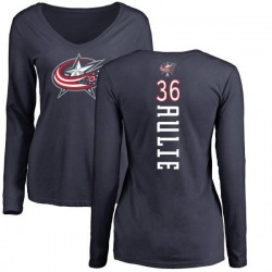 Women's Keith Aulie Columbus Blue Jackets Backer Long Sleeve T-Shirt - Navy