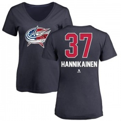 Women's Markus Hannikainen Columbus Blue Jackets Name and Number Banner Wave V-Neck T-Shirt - Navy