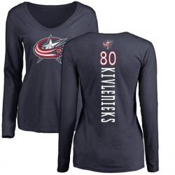 Women's Matiss Kivlenieks Columbus Blue Jackets Backer Long Sleeve T-Shirt - Navy