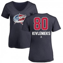 Women's Matiss Kivlenieks Columbus Blue Jackets Name and Number Banner Wave V-Neck T-Shirt - Navy