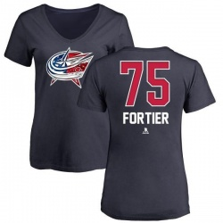 Women's Maxime Fortier Columbus Blue Jackets Name and Number Banner Wave V-Neck T-Shirt - Navy