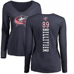 Women's Nathan Billitier Columbus Blue Jackets Backer Long Sleeve T-Shirt - Navy