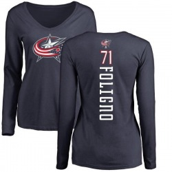 Women's Nick Foligno Columbus Blue Jackets Backer Long Sleeve T-Shirt - Navy