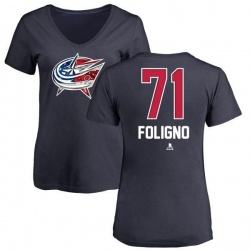 Women's Nick Foligno Columbus Blue Jackets Name and Number Banner Wave V-Neck T-Shirt - Navy