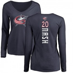 Women's Riley Nash Columbus Blue Jackets Backer Long Sleeve T-Shirt - Navy