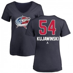 Women's Ryan Kujawinski Columbus Blue Jackets Name and Number Banner Wave V-Neck T-Shirt - Navy