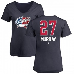 Women's Ryan Murray Columbus Blue Jackets Name and Number Banner Wave V-Neck T-Shirt - Navy