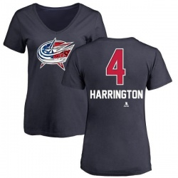 Women's Scott Harrington Columbus Blue Jackets Name and Number Banner Wave V-Neck T-Shirt - Navy
