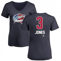 Women's Seth Jones Columbus Blue Jackets Name and Number Banner Wave V-Neck T-Shirt - Navy