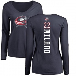 Women's Sonny Milano Columbus Blue Jackets Backer Long Sleeve T-Shirt - Navy