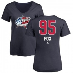 Women's Trent Fox Columbus Blue Jackets Name and Number Banner Wave V-Neck T-Shirt - Navy