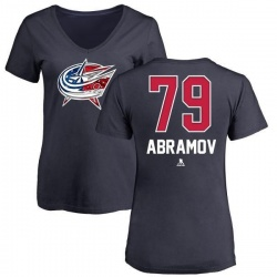 Women's Vitaly Abramov Columbus Blue Jackets Name and Number Banner Wave V-Neck T-Shirt - Navy