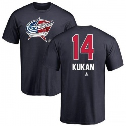 Youth Dean Kukan Columbus Blue Jackets Name and Number Banner Wave T-Shirt - Navy