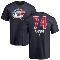 Youth Devin Shore Columbus Blue Jackets Name and Number Banner Wave T-Shirt - Navy