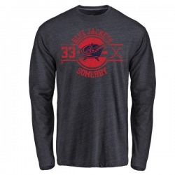 Youth Doyle Somerby Columbus Blue Jackets Insignia Tri-Blend Long Sleeve T-Shirt - Navy