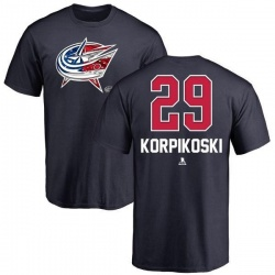Youth Lauri Korpikoski Columbus Blue Jackets Name and Number Banner Wave T-Shirt - Navy