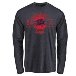 Youth Nathan Gerbe Columbus Blue Jackets Insignia Tri-Blend Long Sleeve T-Shirt - Navy