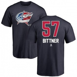 Youth Paul Bittner Columbus Blue Jackets Name and Number Banner Wave T-Shirt - Navy